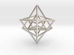 Sacred Geometry: Merkabah2 50mm 2 Nested Star Tetr in Platinum