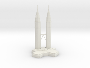 Petronas Towers in White Natural Versatile Plastic