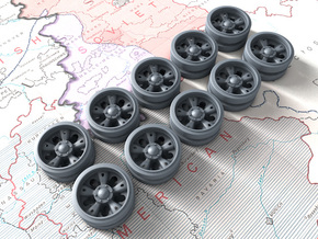 1/48 Russian T-55 Wheels x10 in Smooth Fine Detail Plastic