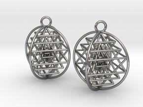 3D Sri Yantra Earrings in Natural Silver