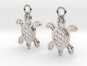Tribal Turtle Earrings in Rhodium Plated Brass