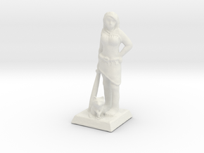 Pocahontas Warrior w/ Raccoon 28mm Scale Miniature in White Natural Versatile Plastic