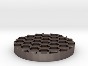 """Hex Grid 1"""" Circular Miniature Base Plate in Polished Bronzed-Silver Steel"""