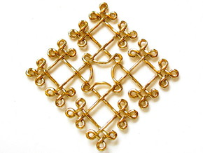 Fractal Celtic knot pendant in Polished Brass