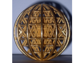 "3D Sri Yantra 12 Sided Symmetrical Sphere 3""  in Polished Gold Steel"