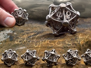 Alchemist's Dice D20 in Polished Bronzed Silver Steel
