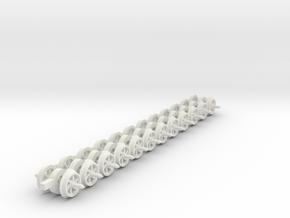 8mm wheels 6 curved spokes 20mm axles 9mm gauge in White Natural Versatile Plastic