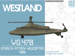 Westland WG.47B Stealth Helicopter in Black Natural Versatile Plastic: 1:144