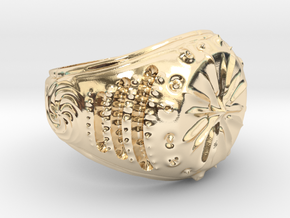Star-Signet Ring size 9.25 US in 14k Gold Plated Brass