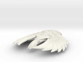 "Romulan Calval Class WarBird 4.4"" in White Natural Versatile Plastic"
