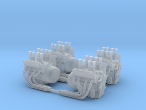 Set of 4 - V8 Engine with Velocity Stacks  in Smooth Fine Detail Plastic