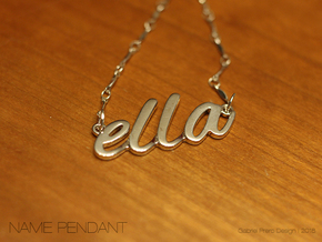 "Custom Name Pendant ""Ella"" in Polished Silver"