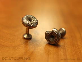 Doughnut Cufflinks in Polished Bronzed Silver Steel
