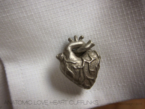 Anatomical Love Heart Cufflink SINGLE in Polished Bronzed Silver Steel