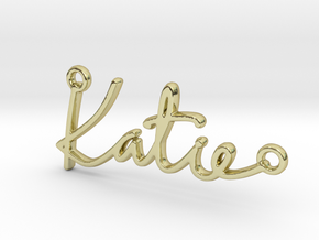Katie Script First Name Pendant in 18k Gold Plated Brass