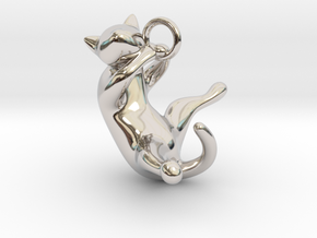 cat_001 in Rhodium Plated Brass