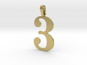 3 Number Pendant in Natural Brass (Interlocking Parts)
