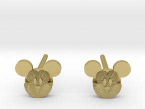 Mickey Mouse Earrings in Natural Brass: Small