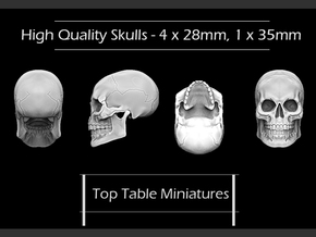High Quality Skulls - 4 X 28mm - 1 X 35mm in Smoothest Fine Detail Plastic