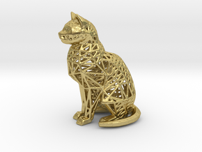 Wireframe Cat in Natural Brass