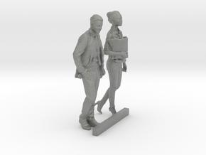HO Scale Walking Man & Woman in Gray Professional Plastic