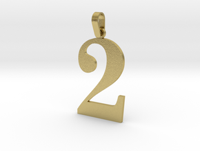 2 Number Pendant in Natural Brass (Interlocking Parts)