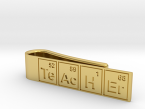 "Periodic table ""teacher"" tie bar in Polished Brass"