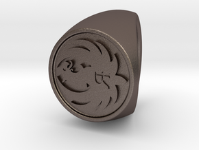 Custom Signet ring 70 US 7.5 in Polished Bronzed-Silver Steel