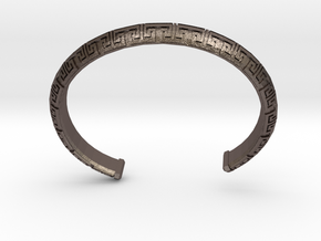 Chinese Pattern Bangle in Polished Bronzed-Silver Steel