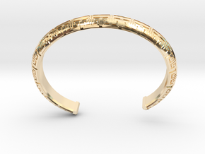 Chinese Pattern Bangle in 14k Gold Plated Brass