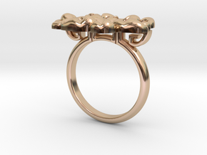 Asian Floral Ring : Peony in 14k Rose Gold