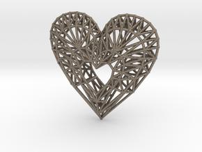 Geometric Heart Pendant in Matte Bronzed-Silver Steel