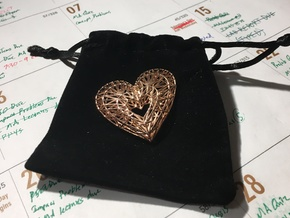 Geometric Heart Pendant in 14k Rose Gold Plated Brass