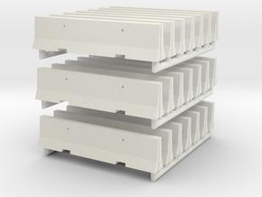 Concrete Barricade 01. Scale HO (1:87)  in White Natural Versatile Plastic
