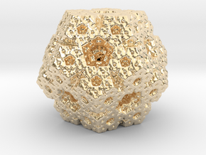 fractal dodecahedron in 14k Gold Plated Brass