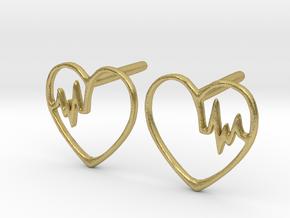 Heartbeat Earrings in Natural Brass
