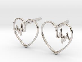 Heartbeat Earrings in Platinum