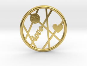 Unconditional Love Round Pendant in Polished Brass