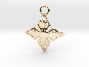 Cross Charm/Pendant in 14k Gold Plated Brass
