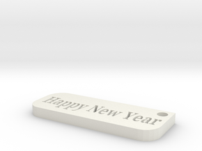 happy new year in White Natural Versatile Plastic: Small