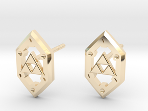 Zelda Shield Studs in 14K Yellow Gold