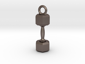 Dumbbell Earring or Pendant in Polished Bronzed-Silver Steel