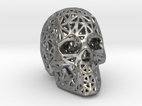 Human Skull with Pattern in Natural Silver