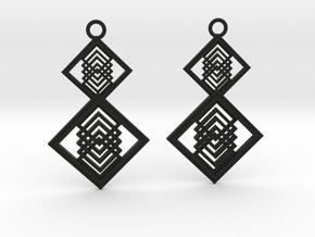Geometrical earrings no.15  in Black Natural Versatile Plastic