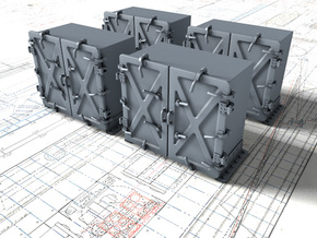 """1/72 Royal Navy 4"""" Ready Use Lockers (Med) x4 in Smooth Fine Detail Plastic"""