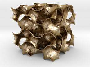 Gyroid - 40/40/40 .6mm Wall in Polished Gold Steel
