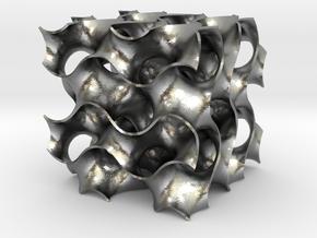 Gyroid - 40/40/40 .6mm Wall in Natural Silver