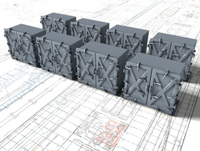 """1/350 Royal Navy 4"""" Ready Use Lockers (Med) x8 in Smoothest Fine Detail Plastic"""