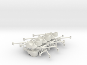 Whip tubs Ho scale with attachment arms and detail in White Natural Versatile Plastic