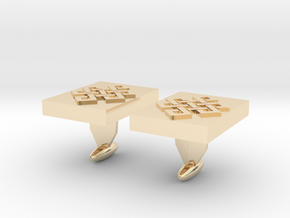 Endless knot cuff link in 14k Gold Plated Brass